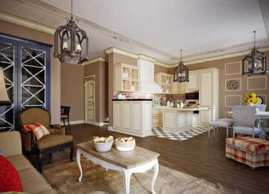 Living room interior with kitchen in the house - Kitchen combined with the living room in a private house